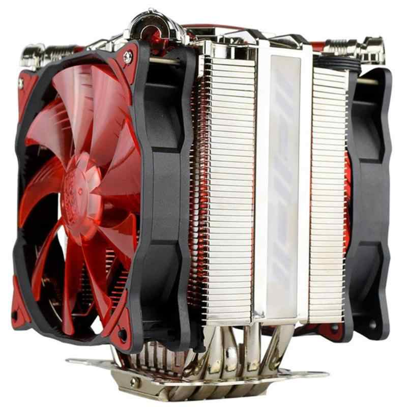 Alloyseed 1pcs 5xheatpipes Led Cpu Dual Cooler Fan Rifle Bearing Temperature Monitor Mute Cooling Fan Heatsink Radiator Fans Cooling Aliexpress