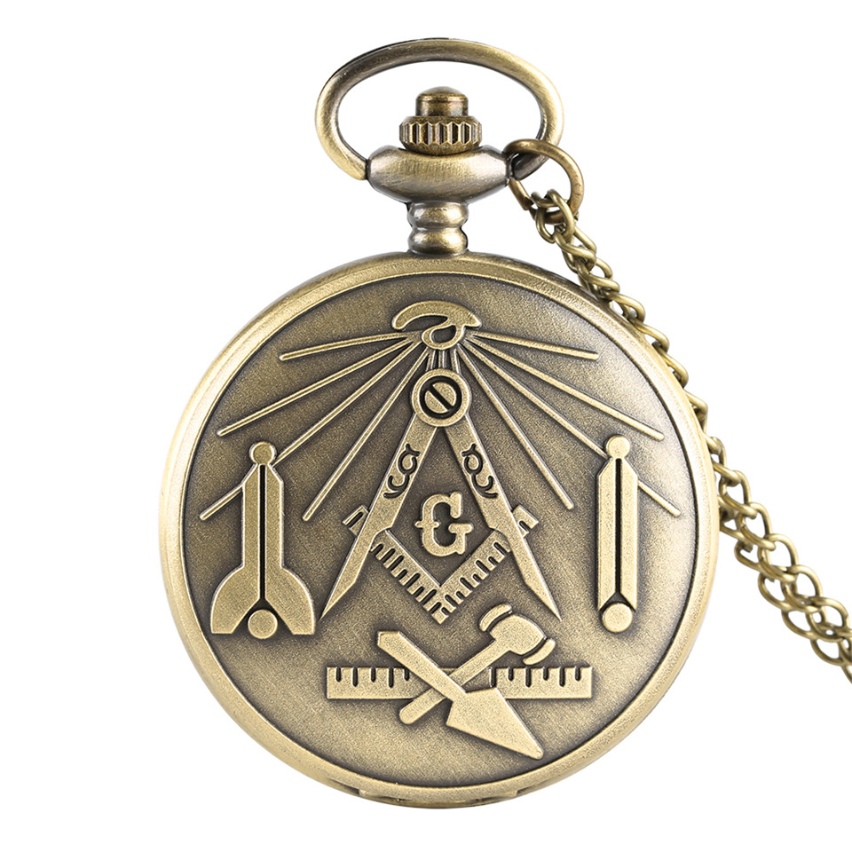 Bronze 'G' Freemasonry Masonic Symbol Quartz Pocket Watch Men Necklace Fob Women Watches Retro Style Male Clock Gifts 2019 New
