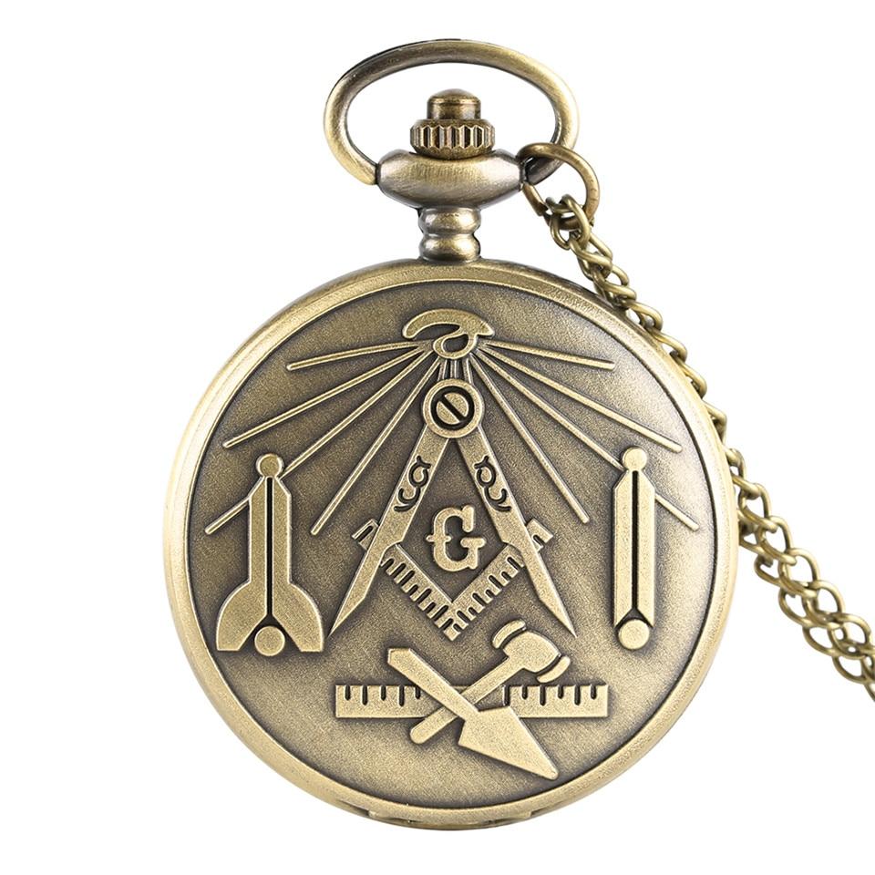 Bronze 'G' Freemasonry Masonic Symbol Quartz Pocket Watch Men Necklace Fob Women Watches Retro Style Male Clock Gifts 2019 New