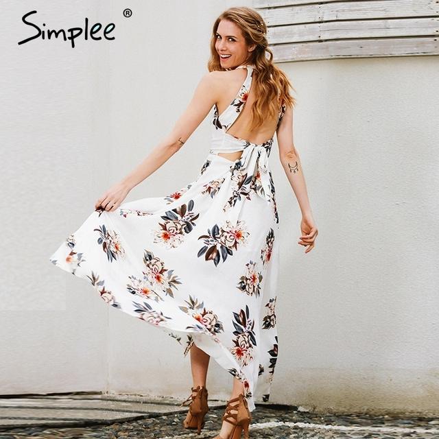 Simplee Floral print halter chiffon long dress Women white split beach summer dress Sexy backless maxi dresses vestidos 2017 new