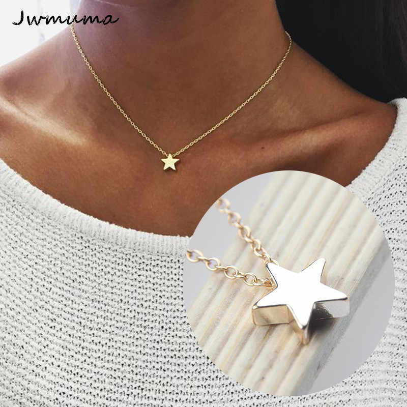 Fashion simple thick five-pointed star pendant necklace Women's Moon Metal Necklace alloy jewelry accessories Party gift