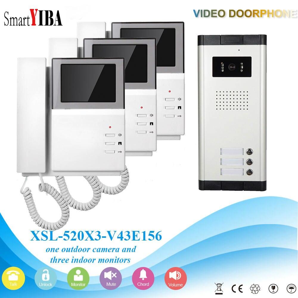 SmartYIBA 3 Units Multi Apartment Video Doorbell Security Intercom Video Door Phone Doorbell Camera for 3 Families House