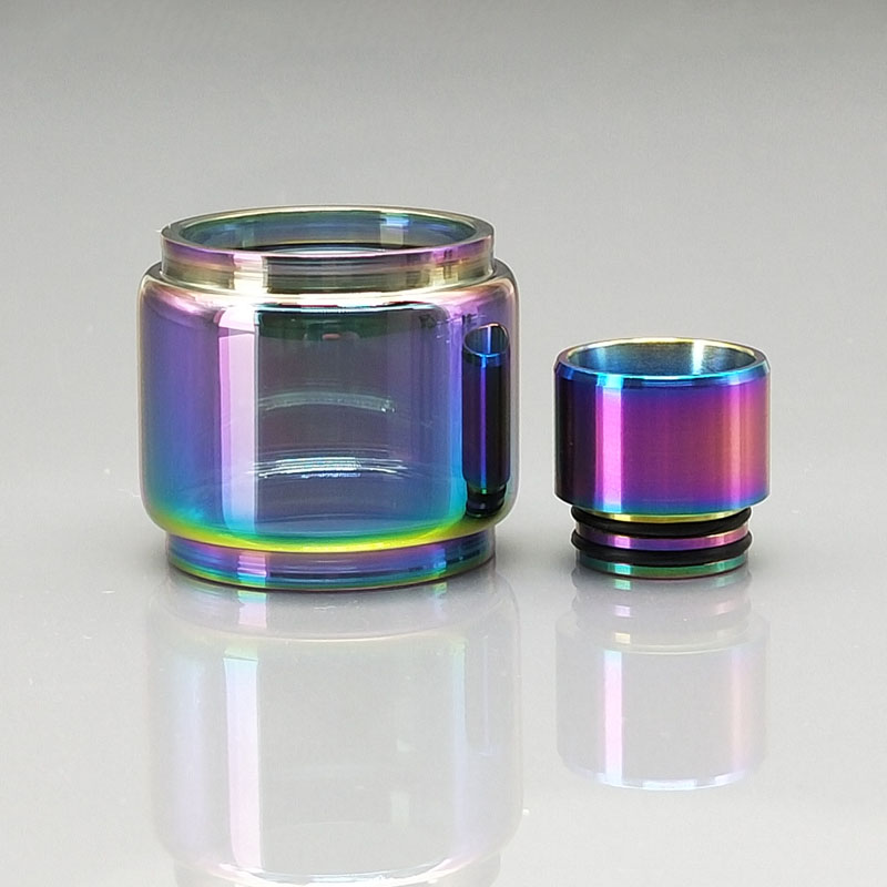 1Set Replacement Bubble Fat Glass Tube With 810 SS Glass Drip Tip For SMOK TFV12 Prince 8ML TANK Rainbow Clear Color