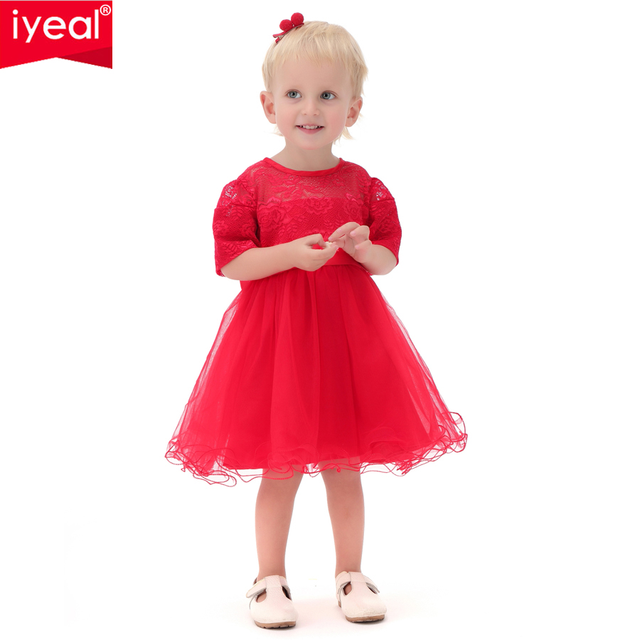 IYEAL Baby Girl Baptism Dress Red Infant Princess Dresses