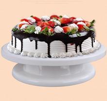 2017 de Alta calidad de La Torta DIY Plástico Fondant Cake Decorating Icing Giratoria Placa Giratoria Del Soporte Plataforma Blanca accesorios Para el Horneado