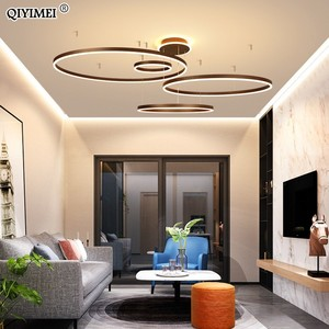 Image 3 - 現代のledペンダントライトリビングダイニングルーム調光対応サスペンション照明器具suspendu円形リングコーヒーhanglamp luminaria