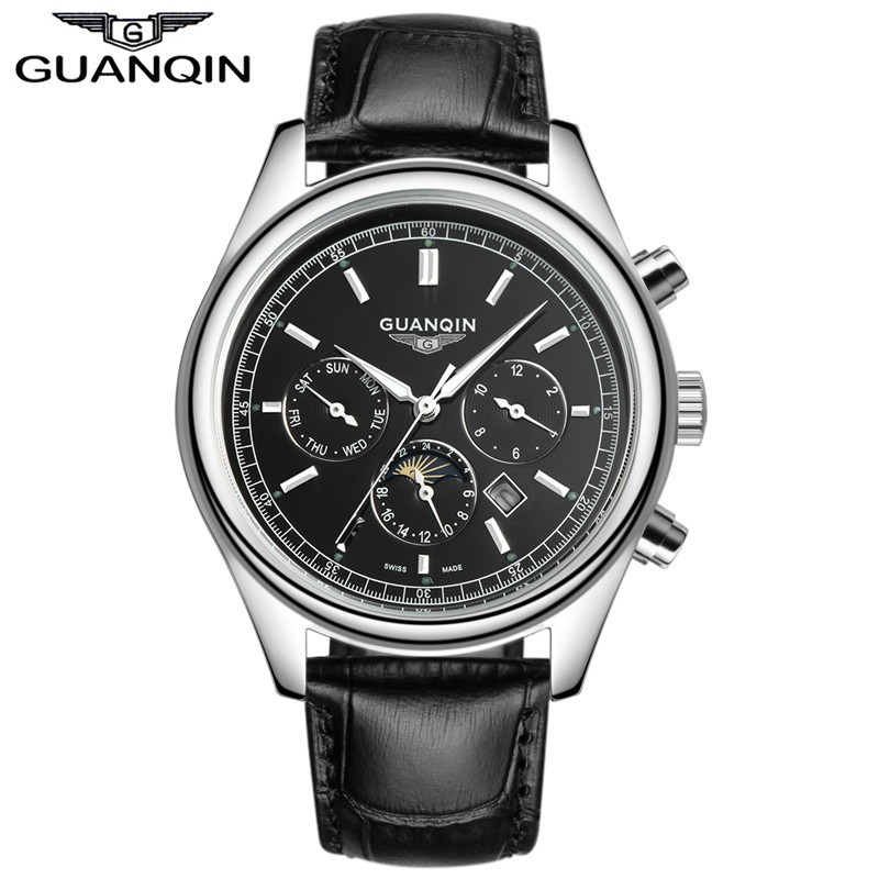 New fashion Leather watch male quartz watch Luxury brand GUANQIN multifunctional waterproof business casual fashion watch men new arrival ultrathin quartz watch luxury brand guanqin waterproof watch male casual clock hours men leather business wristwatch