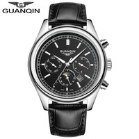 New Fashion Leather Watch Male Watch Quartz Watch Mens Watch Luxury Brand GUANQIN Multifunctional Business Casual