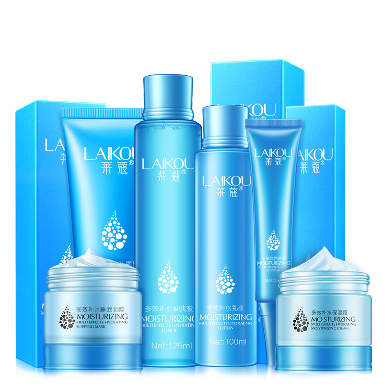 6pcs/lot LAIKOU Multi-effect Moisturizing Skin Care Set Face Cleanser+toner+emulsion+eye Cream+sleep Mask+face Cream Nourishing maxam moisturizing multi effect hand cream conjoined ex gratia pack увлажняющий питательный крем для рук 80 г multi effect repair hand cream 30g