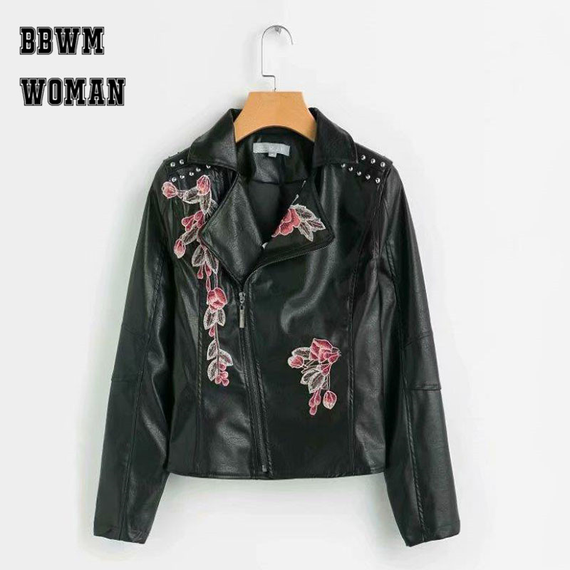 Flower Embroidery Women   Leather   Jacket Black Punk Biker Jacket Lapel Rivet Ladies   Leather   Coat Outwear Tops ZO757
