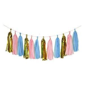 Image 2 - Coloridas borlas de papel tisú guirnalda colgante carteles para baby shower DIY artesanía Decoración de cumpleaños boda