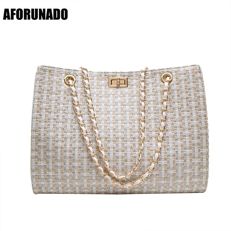 Luxury Handbags Women Bags Designer Canvas Knitting Shoulder Bags Fashion Ladies Channels HandBags Crossbody Bags For Women 2020(China)