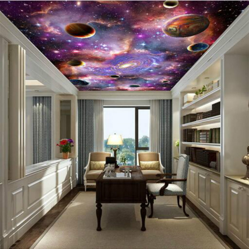 Galaxy 3D Ceiling Large Mural Wallpaper Living Room Bedroom Wallpaper Painting TV Backdrop 3D Wallpapers for walls landscape 3d ceiling smallpox large mural wallpaper ktv hotel bedroom living room backdrop wallpaper