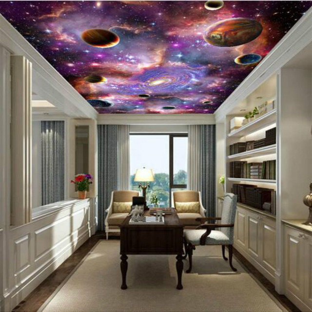 Galaxy 3d plafond grand mural papier peint salon chambre for Fond plafond salon