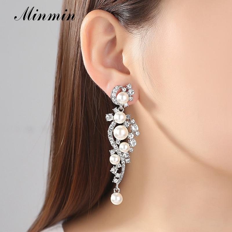 Minmin Simüle İnci Gelin Takı Setleri Gümüş Kristal Bilezik - Kostüm mücevherat - Fotoğraf 2