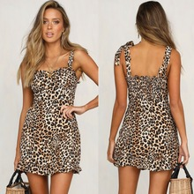 2019 Hot Sale Ladies Sexy Beach Dress Summer Leopard Chiffon women off should Frock Vestidos