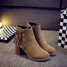 New Women's Fashion Winter Ankle Boots Side Zipper Low Heel Ankle Boots Womens Casual Martin Boots Shoes