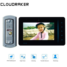 CLOUDRAKER Video Doorbell 1x 7'' Monitor with 1x Wired Door Phone Camera Video Intercom System free shipping 7 monitor video door phone doorbell intercom system fingerprint code keypad access door camera magnetic lock