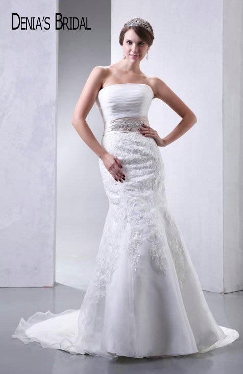 Actual Images Strapless Lace Mermaid font b Wedding b font Dresses Pleats Floor Length Chapel Train