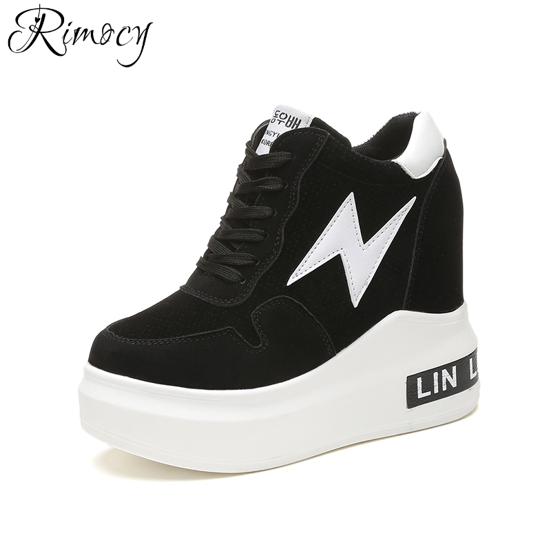 Rimocy women wedges hidden heel platform shoes autumn winter fashion lace up height increasing Vulcanized shoes woman high heels fashion women elevator candy color breathable canvas high platform denim lace up casual shoes height increasing wedges shoes