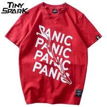 2018 Summer T Shirt Panic Letter Print Short Sleeve Hip Hop Funny T-Shirt Streetwear Casual Tshirts Cotton Tops Tee New Fashion