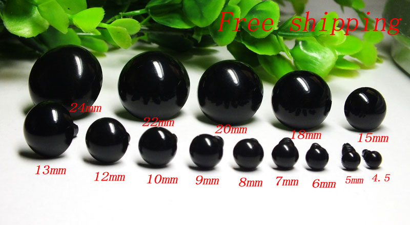 100Pcs 5mm//6mm//7mm Round Googly Eyes For Toys Bear Dolls Decor Accessories FO