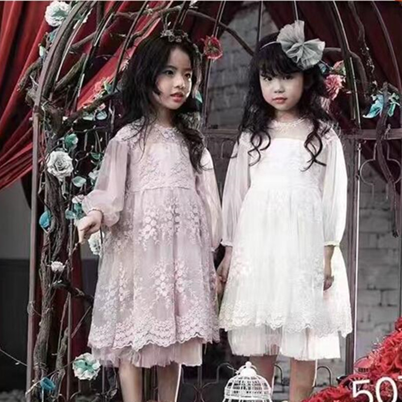 Korean Girls Party Dress 2017 Sweet Chilren Girls Embroidery Flowers Dresses Cute Princess Dress Baby Clothes 2-7y Girl Clothing foreign trade adicolo digital printing princess dress girls korean princess dress