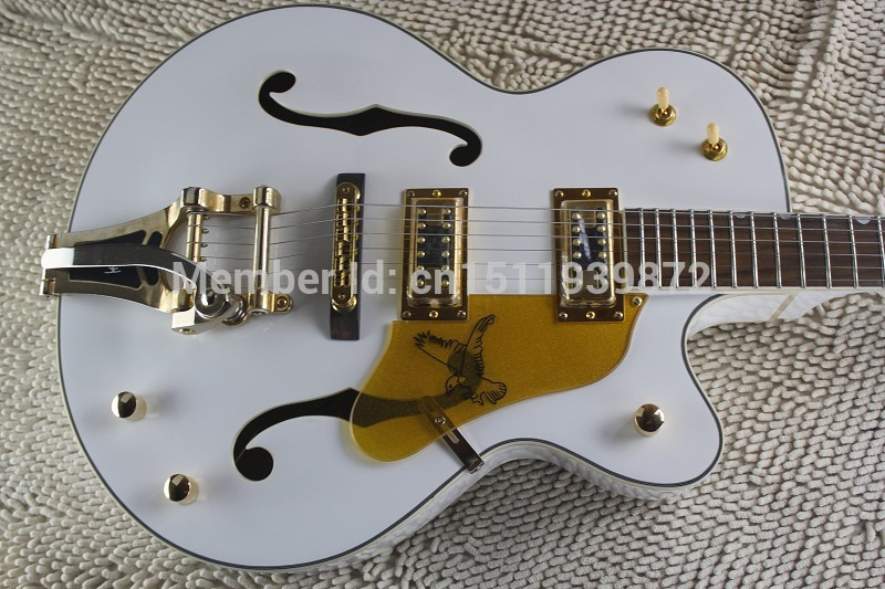 Factory Custom GRETSCH THE WHITE FALCON 6120 Semi Hollow Body Jazz Korean Tuners Electric Guitar With Bigsby Tremolo saucony кроссовки saucony jazz lowpro blue white 10