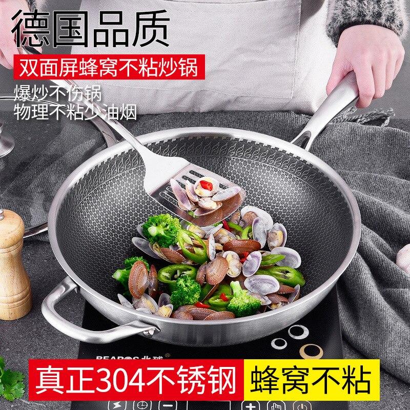 32 cm/34 cm nuevo 304 de acero inoxidable menos humo no revestimiento no sartén hogar la Olla de cocina Wok con tapa de cristal