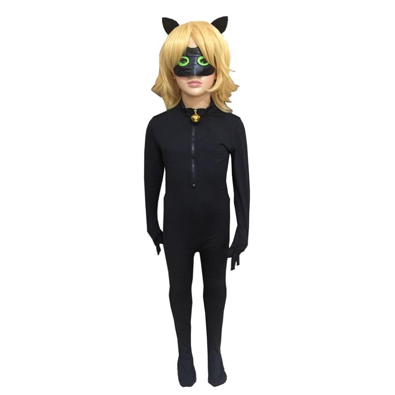 Ladybug Cat Noir Cosplay Costume Children Halloween Superhero Costumes Jumpsuit+Mask+Wigs