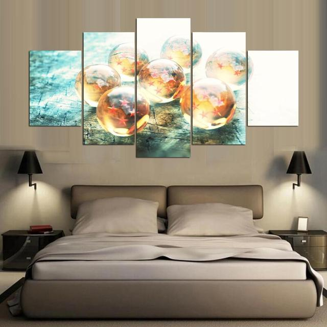 Home Decor Landscape Pictures 5 Panel Cartoon Dragon Ball Theme For ...