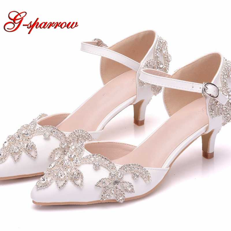 Wedding Shoes 5cm Kitten Heel Pointed Toe Ankle Strap Sandals Low