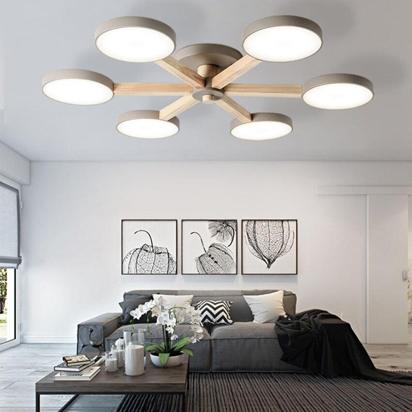Colourful Led Ceiling Lamps Wood Ceiling Lights Atmosphere Bedroom Dining Room 3/6/8 Heads Bedroom Living Lighting Fixture Avize Ceiling Lights     - title=
