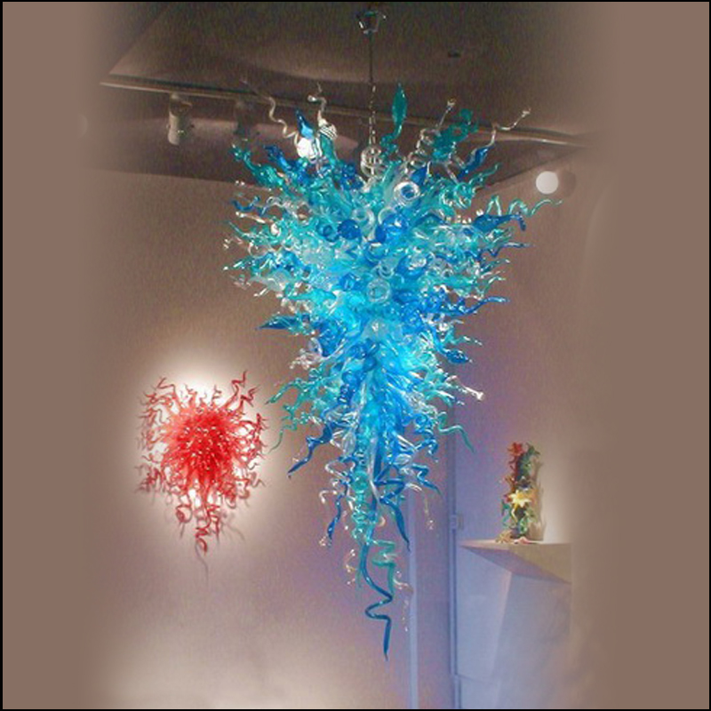 Led Source 100% Custom Decorative Pretty Blue Blown Murano Glass Hanging LED Chandeliers for Home Decor|Chandeliers| |  -