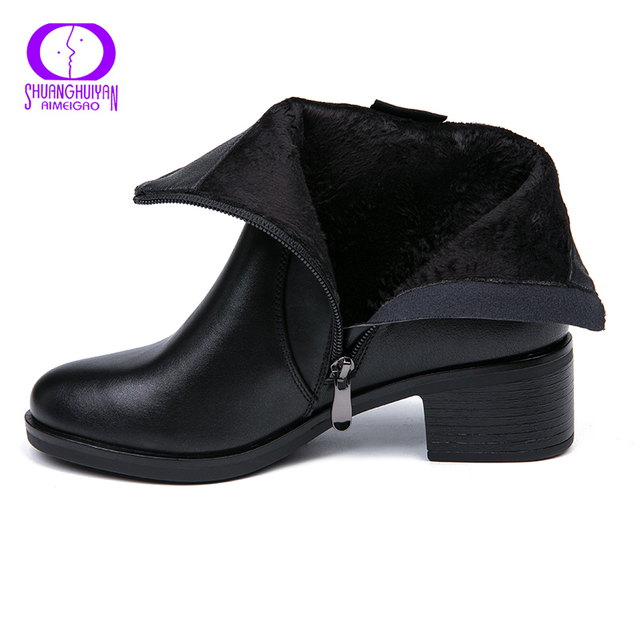 AIMEIGAO 2018 New Arrivals Soft Leather Ankle Boots Women Comfortable Mid Heels Boots For Ladies Spring Autumn Women Shoes 4