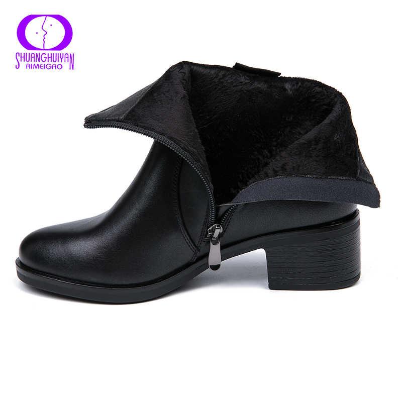 AIMEIGAO 2018 Mới đến Mềm Ủng Da Cá Nữ Thoải Mái Giữa Gót Giày Cho Nữ Thu Xuân Nữ Giày Nữ