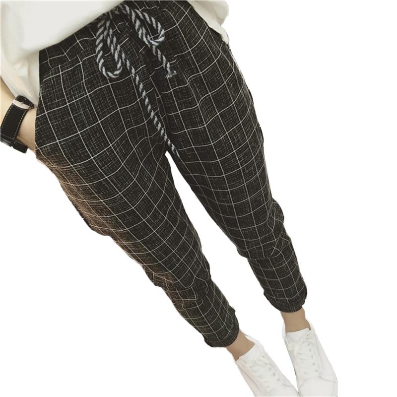 где купить 2017 summer Casual Loose Women Harem Pants Plus Size Cotton Linen joggers Plaid Capris Grid women Spring trousers women femme по лучшей цене