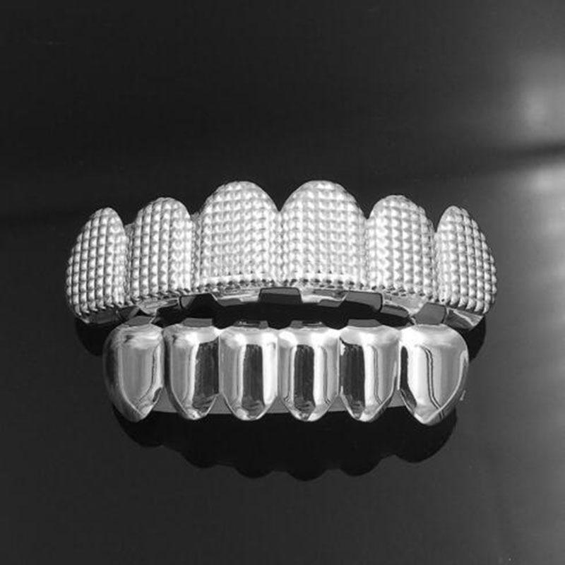 Hip Hop Men's 6 Top & Bottom Teeth Gold Silver Color False Teeth Grillz Set Bump Lattice Dental Grills For Women Body Jewelry