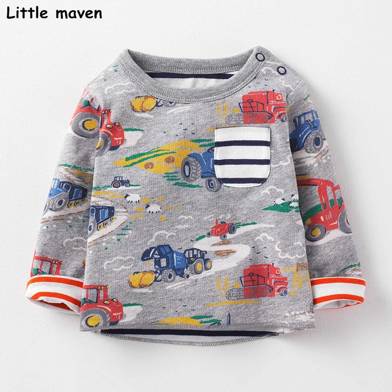 Little maven children brand 2017 autumn new boys girls cotton long sleeve tops O-neck pocket excavator print t shirts 50881