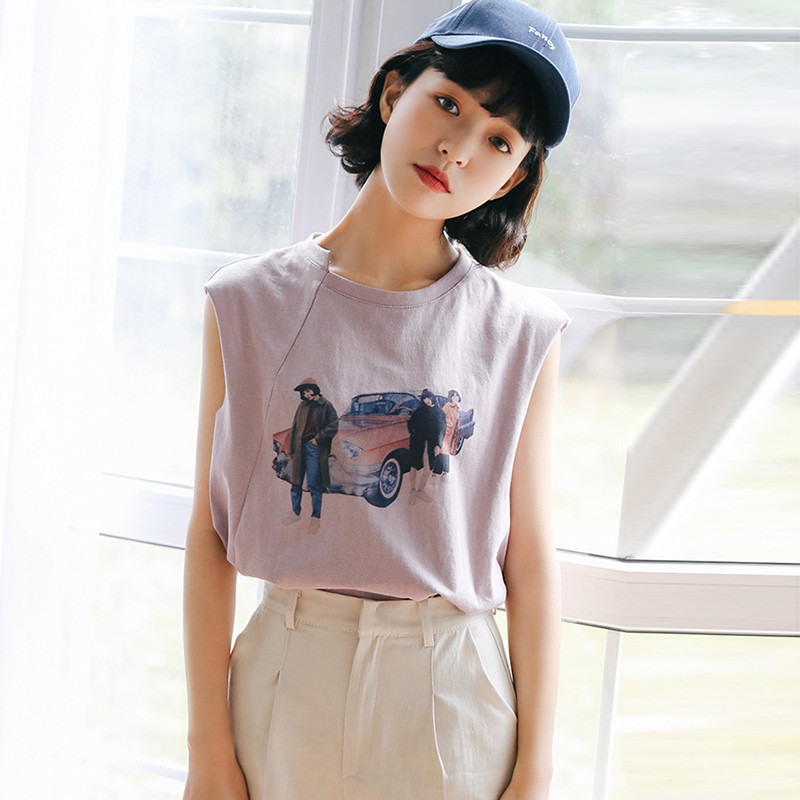 83d346bd2ec 2018 Summer New Korean Sweet Temperament Printing Loose Thin Sleeveless T- shirt C33