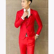 Male Slim 3 pieces Red Formal men Wedding Suits Dress 2017 Fashion  black blue  efe211c75992