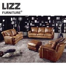 Furniture Casa Wooden Sofa Set Couch Comfortable Sofa Love Seat Chair Genuine Leather Divani