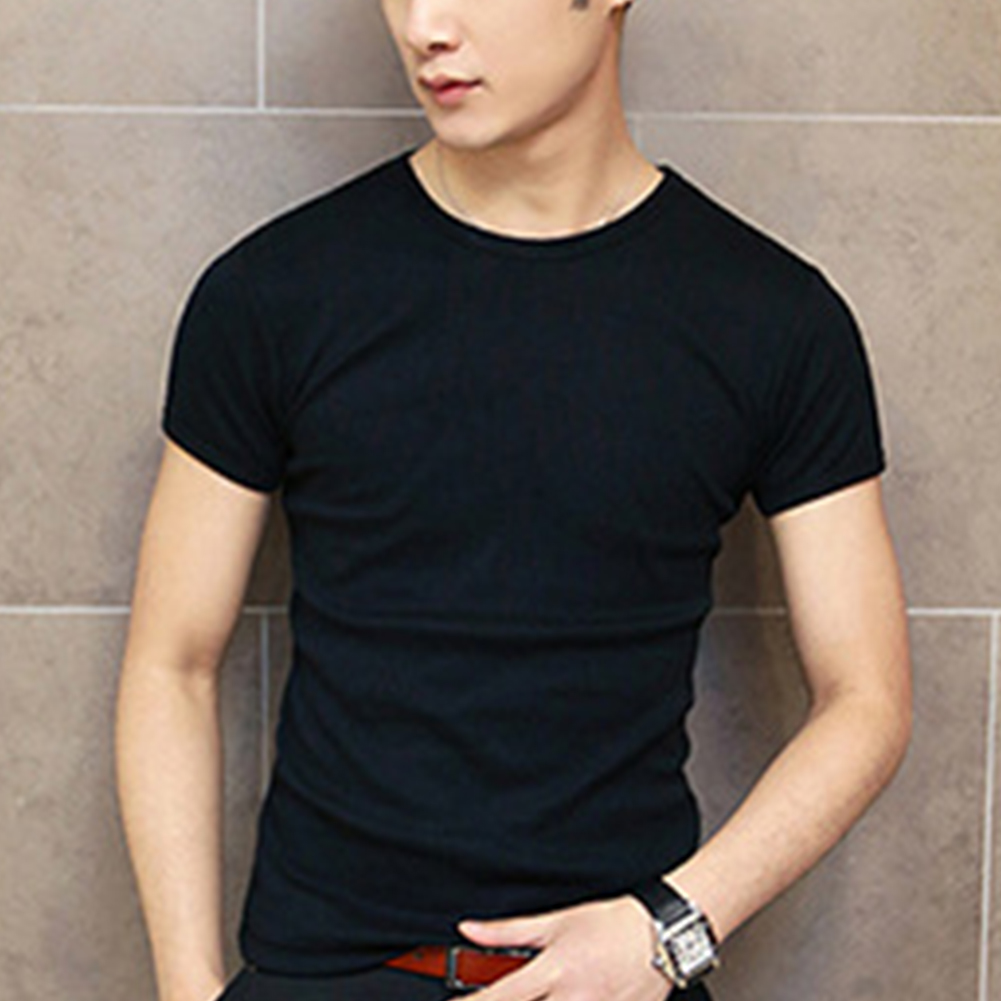 Simple Summer Men Short Sleeve Round Collar New Solid Color Casual Slim Fit T-shirt Men's Clothing Male Tops Shirt~