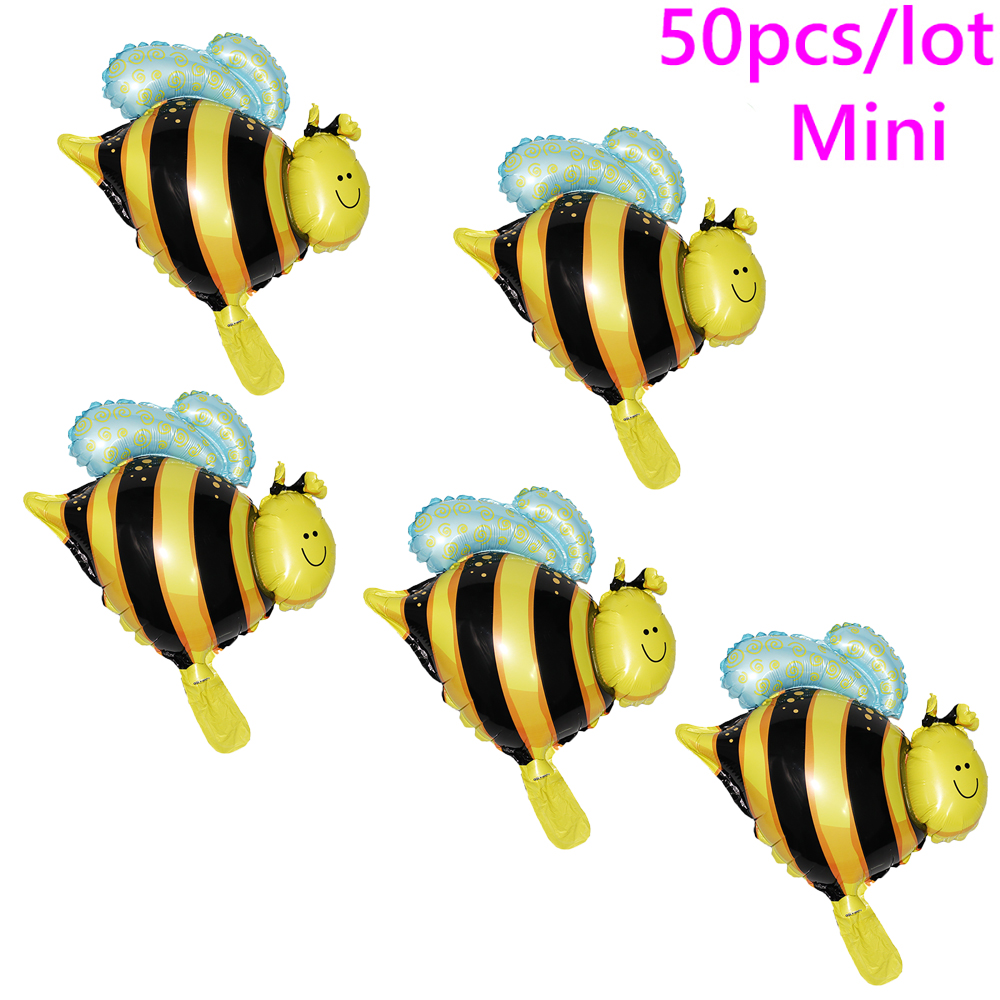 Mini Honeybee Party Decorations Foil Balloons 50pcs Cartoon Animal Bees Balloon For Baby Happy Birthday Decor In Ballons Accessories From