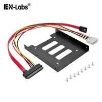 """EN-Laboratoires 1.3ft SATA & Power 22pin Combo Câble w/2.5 """"à 3.5"""" SSD HDD Métal support de montage Adaptateur Titulaire Disque Dur pour PC SSD"""