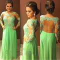 2016 Light Green O-Neck A-Line Long Evening Dresses Long Sleeve Sheer Back Prom Gown Formal Dresses Party Dress Robe de soiree