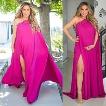 Einzigartiges Design Prom Kleider Für Schwangere Frau Chiffon-Eine Linie Mit Hoher Slits Maternity Party Abendkleider