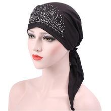 7b7f5e049 Gorros para niñas mujeres musulmanas Ruffle Cancer quimio sombrero gorro  bufanda turbante cabeza envolver gorra con diamante cri.