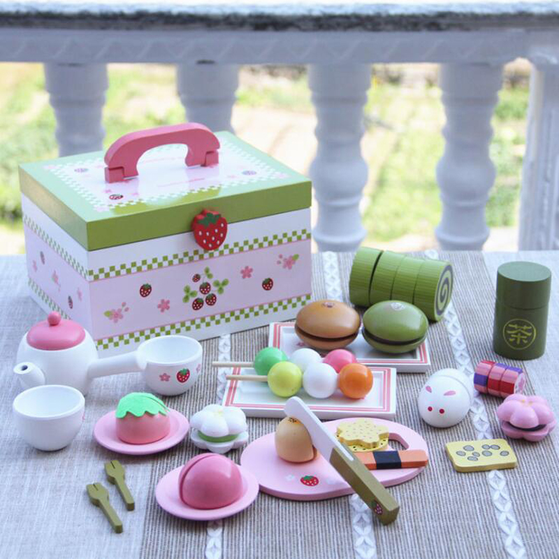 Baby Toys Strawberry Simulation Afternoon Tea Cut Set Child Food Kitchen Wooden Toys Dessert Cake Pretend Play for Birthday Gift