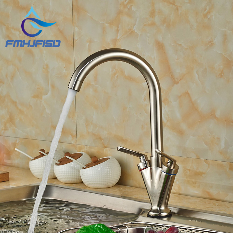 Free Shipping Brass Quality Kitchen Sink Mixer Faucet with Two Handles One Hole Multiple Colors
